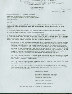 Cape Cod National Seashore Correspondence to Congressman Aspinall