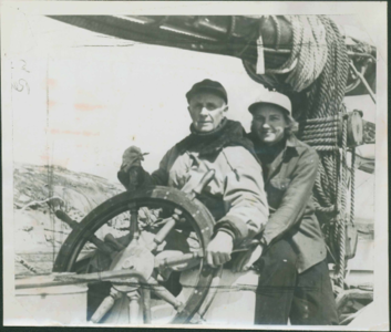 Photograph of Donald and Miriam MacMillan Aboard  the Bowdoin