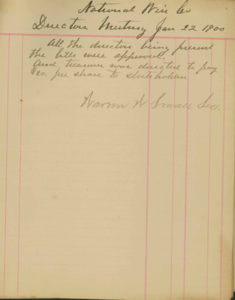 National Weir Co. Corporate Meeting Minutes 1900-1923