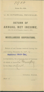 National Weir Co. 1910 IRS Return of Annual Income