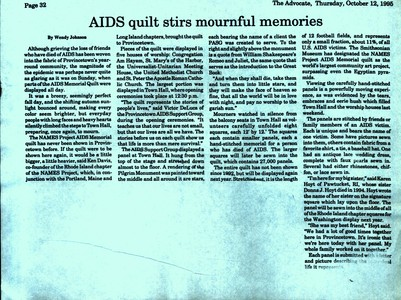 AIDS Quilt Stirs Mournful Memories