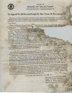 """An Appeal To All Decent People In The Town of Provincetown"" 1952"