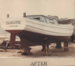 Color photo of trapboat Charlotte after restoration